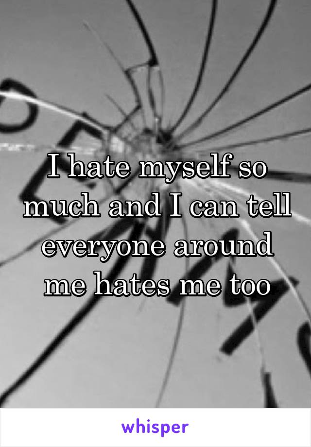 I hate myself so much and I can tell everyone around me hates me too