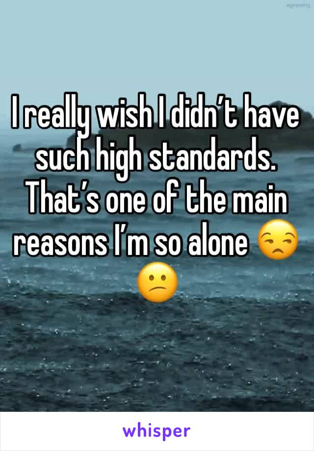 I really wish I didn't have such high standards. That's one of the main reasons I'm so alone 😒😕