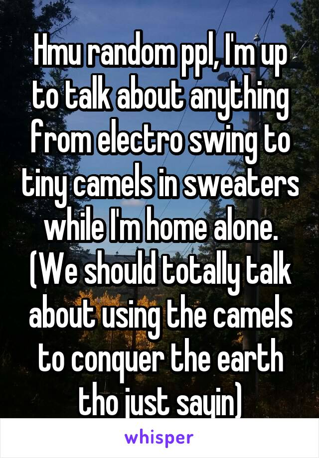 Hmu random ppl, I'm up to talk about anything from electro swing to tiny camels in sweaters while I'm home alone. (We should totally talk about using the camels to conquer the earth tho just sayin)