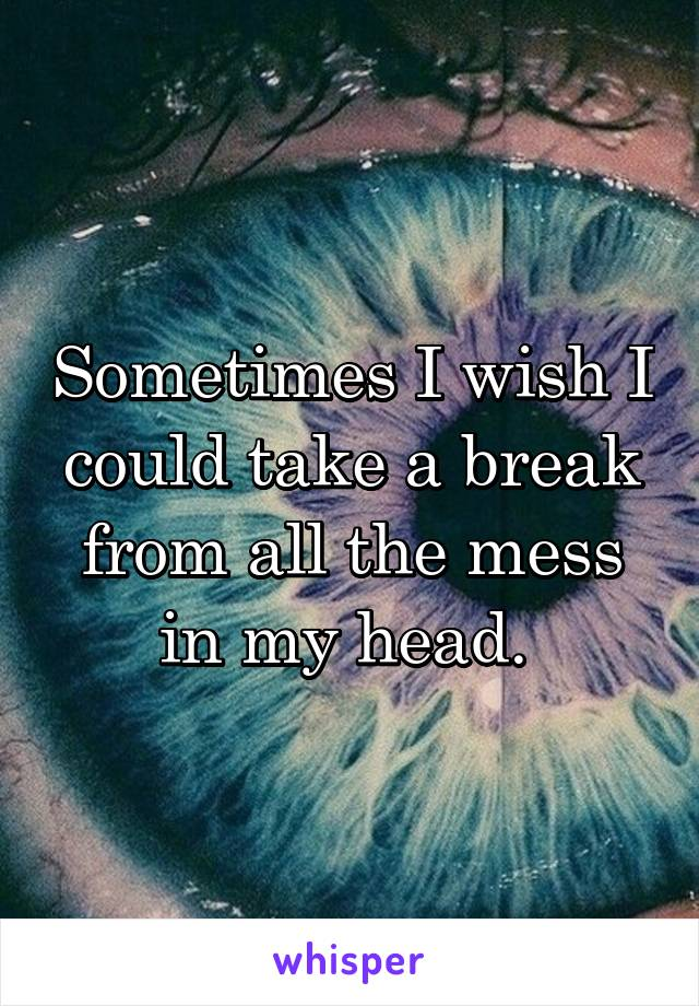 Sometimes I wish I could take a break from all the mess in my head.