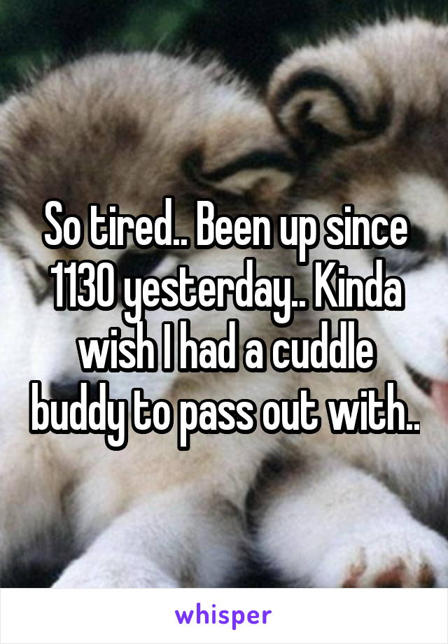 So tired.. Been up since 1130 yesterday.. Kinda wish I had a cuddle buddy to pass out with..