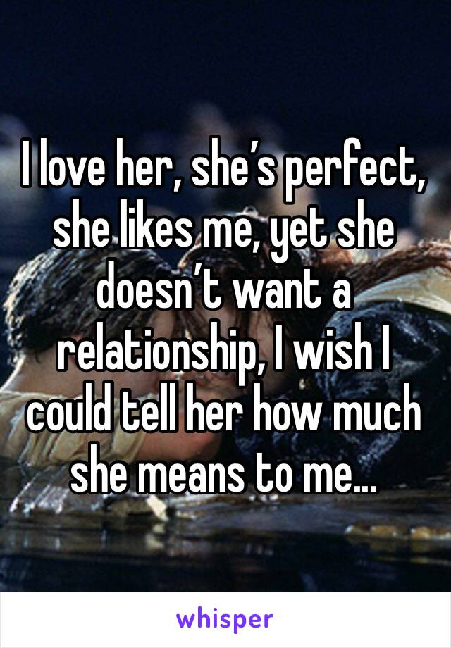 I love her, she's perfect, she likes me, yet she doesn't want a relationship, I wish I could tell her how much she means to me...