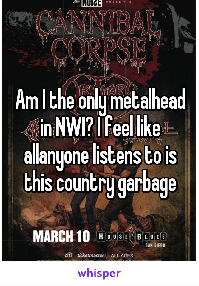 Am I the only metalhead in NWI? I feel like allanyone listens to is this country garbage