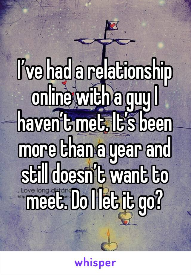 I've had a relationship online with a guy I haven't met. It's been more than a year and still doesn't want to meet. Do I let it go?