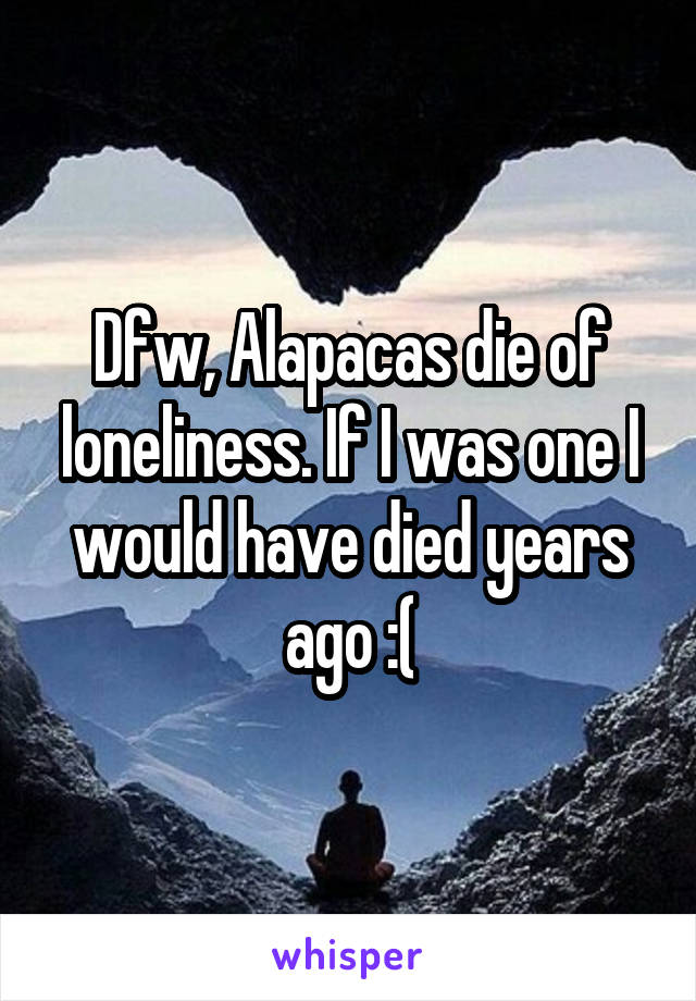 Dfw, Alapacas die of loneliness. If I was one I would have died years ago :(