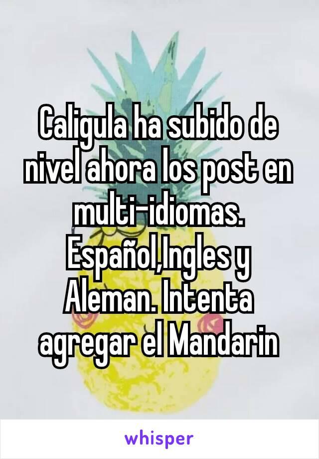 Caligula ha subido de nivel ahora los post en multi-idiomas. Español,Ingles y Aleman. Intenta agregar el Mandarin