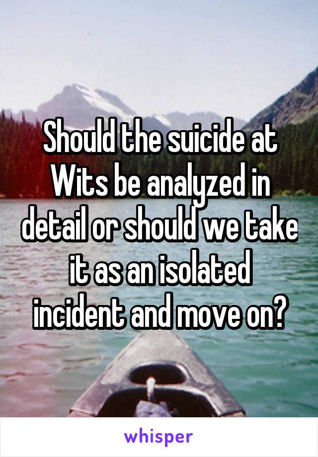 Should the suicide at Wits be analyzed in detail or should we take it as an isolated incident and move on?