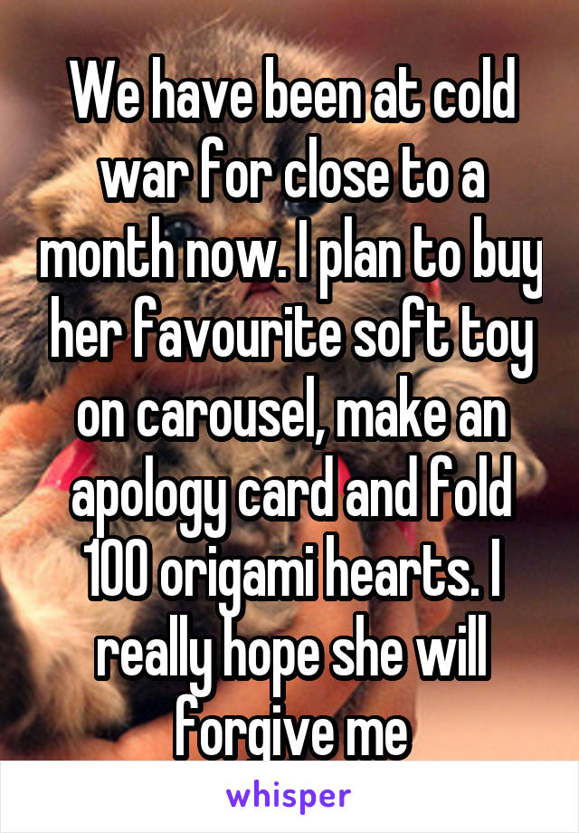 We have been at cold war for close to a month now. I plan to buy her favourite soft toy on carousel, make an apology card and fold 100 origami hearts. I really hope she will forgive me
