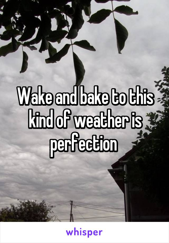 Wake and bake to this kind of weather is perfection