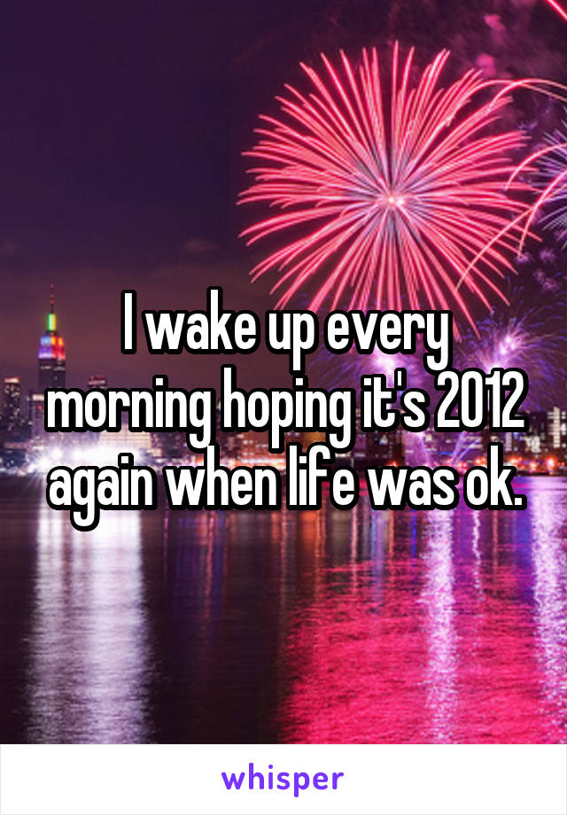 I wake up every morning hoping it's 2012 again when life was ok.