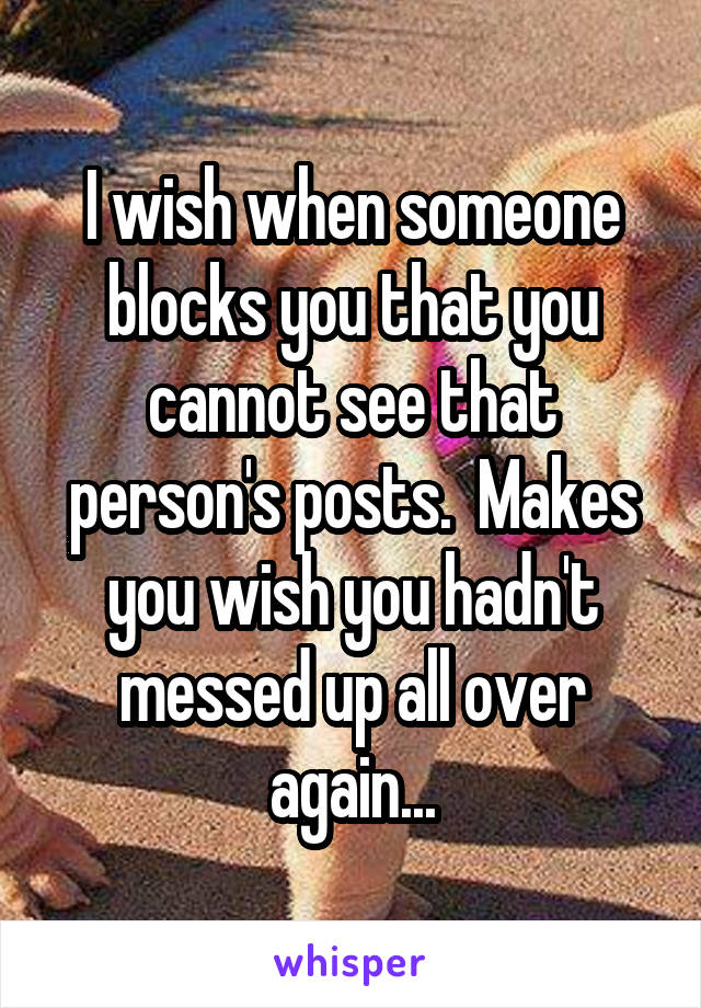 I wish when someone blocks you that you cannot see that person's posts.  Makes you wish you hadn't messed up all over again...