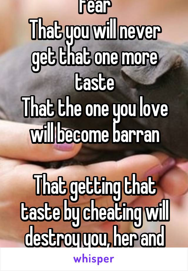 Fear That you will never get that one more taste That the one you love will become barran  That getting that taste by cheating will destroy you, her and both your lives