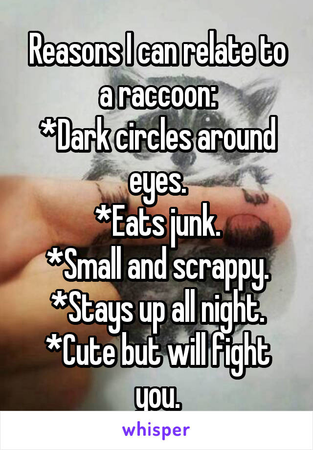 Reasons I can relate to a raccoon: *Dark circles around eyes. *Eats junk. *Small and scrappy. *Stays up all night. *Cute but will fight you.