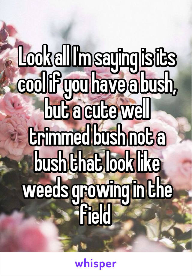 Look all I'm saying is its cool if you have a bush, but a cute well trimmed bush not a bush that look like weeds growing in the field