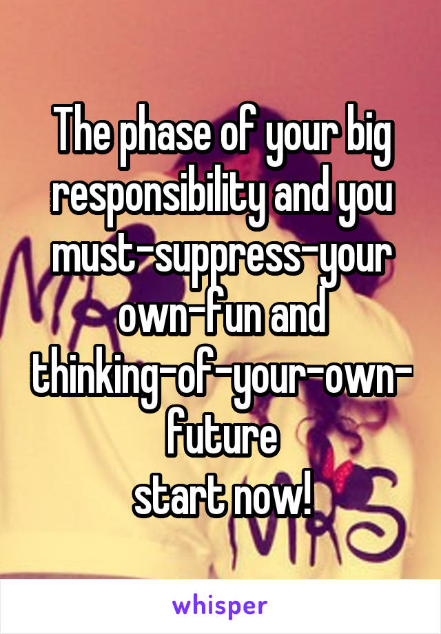 The phase of your big responsibility and you must-suppress-your own-fun and thinking-of-your-own-future start now!