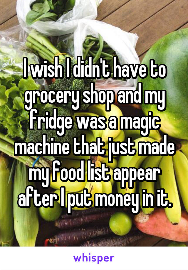 I wish I didn't have to grocery shop and my fridge was a magic machine that just made my food list appear after I put money in it.