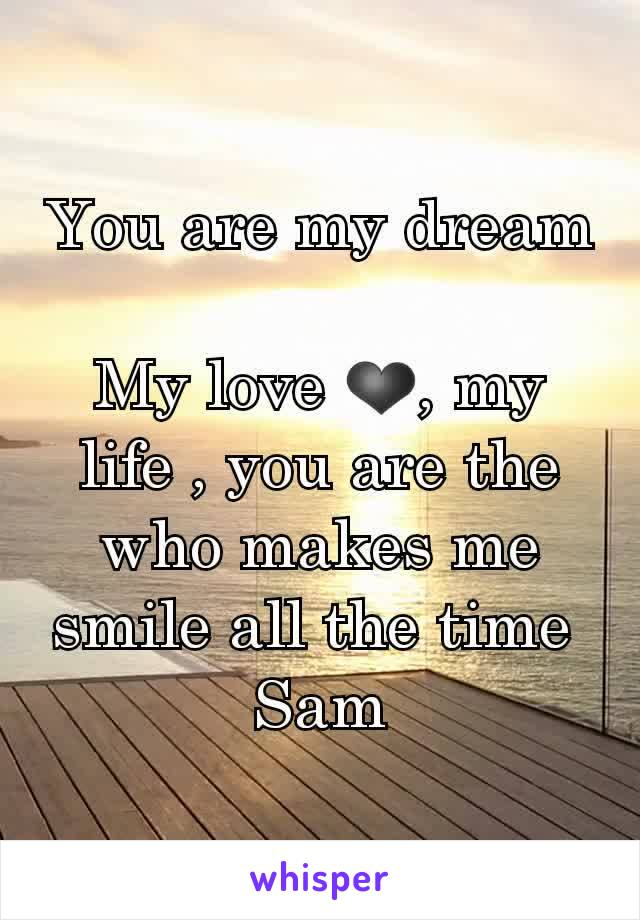 You are my dream  My love ❤, my life , you are the who makes me smile all the time  Sam