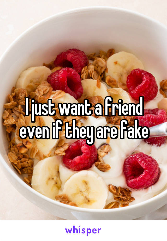 I just want a friend even if they are fake