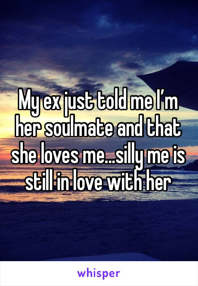 My ex just told me I'm her soulmate and that she loves me...silly me is still in love with her