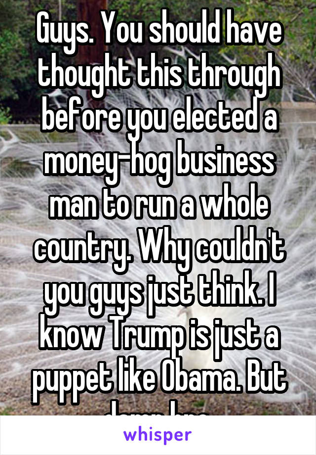Guys. You should have thought this through before you elected a money-hog business man to run a whole country. Why couldn't you guys just think. I know Trump is just a puppet like Obama. But damn bro.