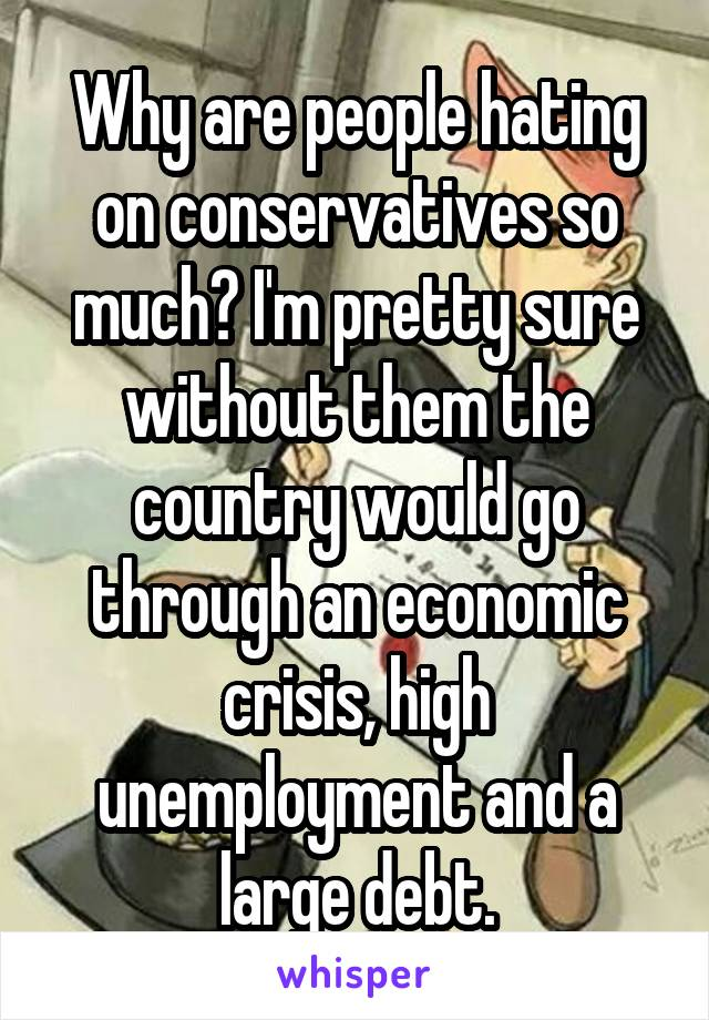 Why are people hating on conservatives so much? I'm pretty sure without them the country would go through an economic crisis, high unemployment and a large debt.