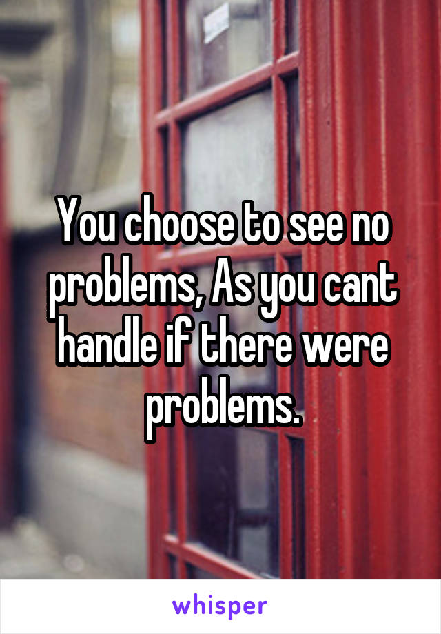 You choose to see no problems, As you cant handle if there were problems.