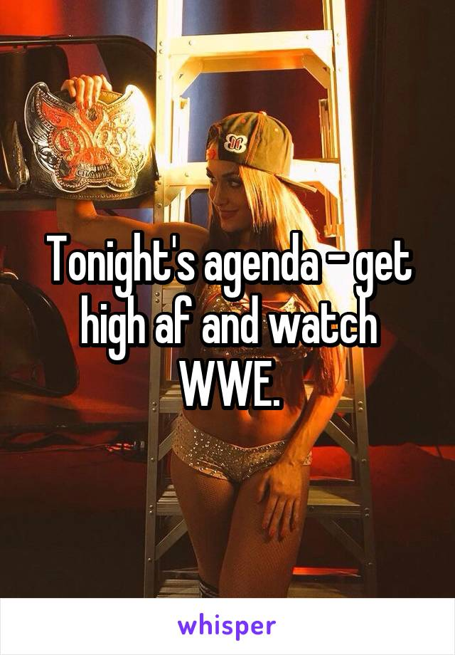 Tonight's agenda - get high af and watch WWE.