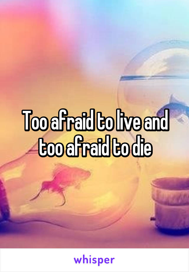Too afraid to live and too afraid to die