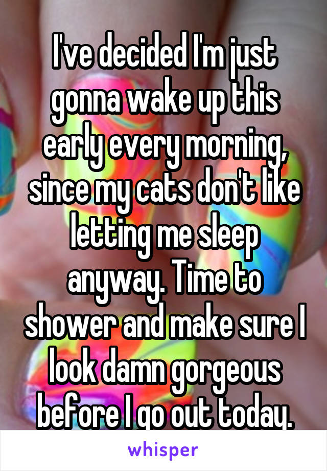 I've decided I'm just gonna wake up this early every morning, since my cats don't like letting me sleep anyway. Time to shower and make sure I look damn gorgeous before I go out today.