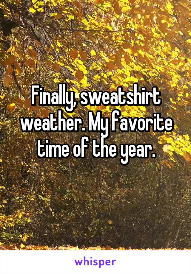 Finally, sweatshirt weather. My favorite time of the year.