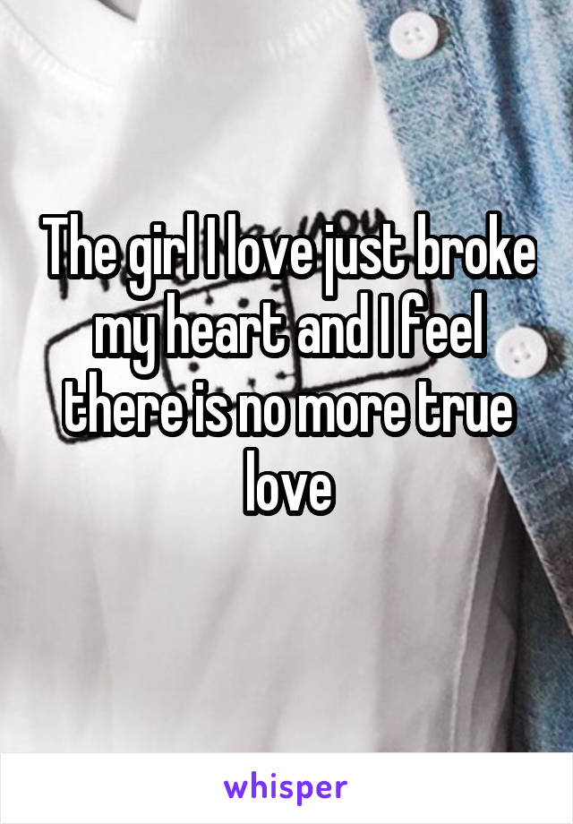 The girl I love just broke my heart and I feel there is no more true love