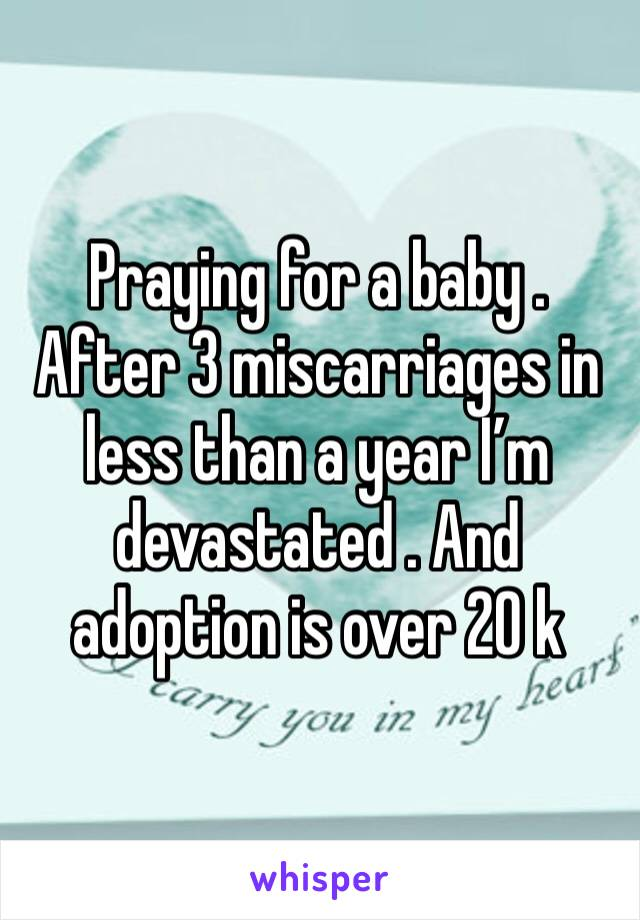 Praying for a baby . After 3 miscarriages in less than a year I'm devastated . And adoption is over 20 k
