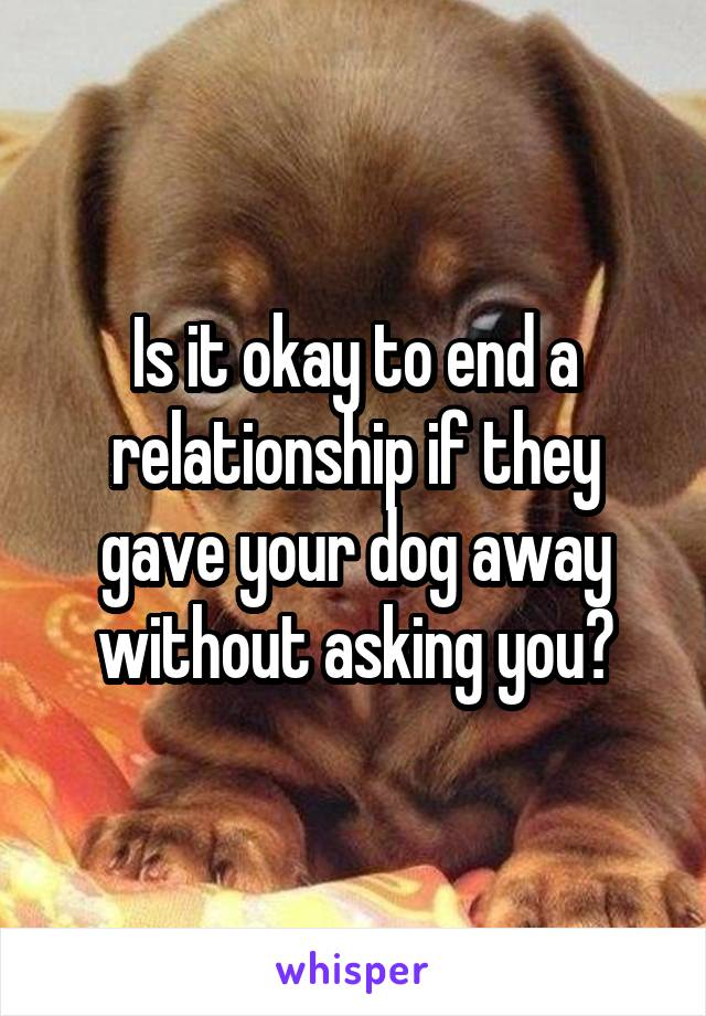 Is it okay to end a relationship if they gave your dog away without asking you?