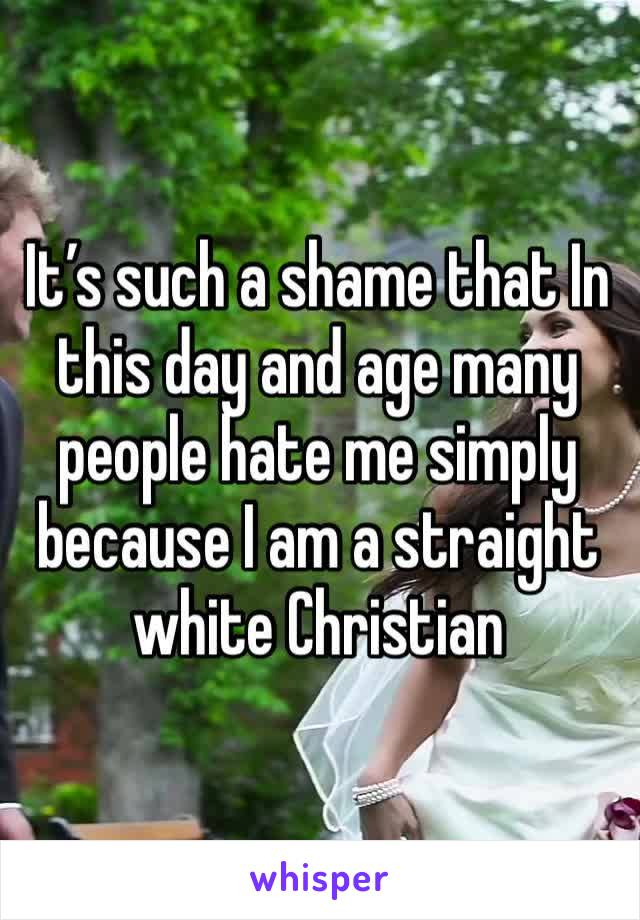 It's such a shame that In this day and age many people hate me simply because I am a straight white Christian