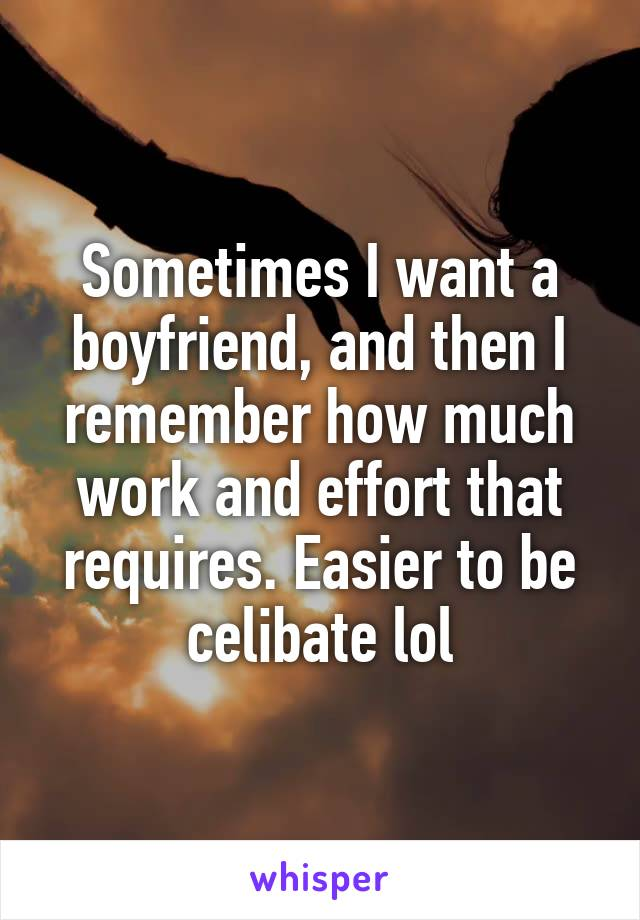 Sometimes I want a boyfriend, and then I remember how much work and effort that requires. Easier to be celibate lol