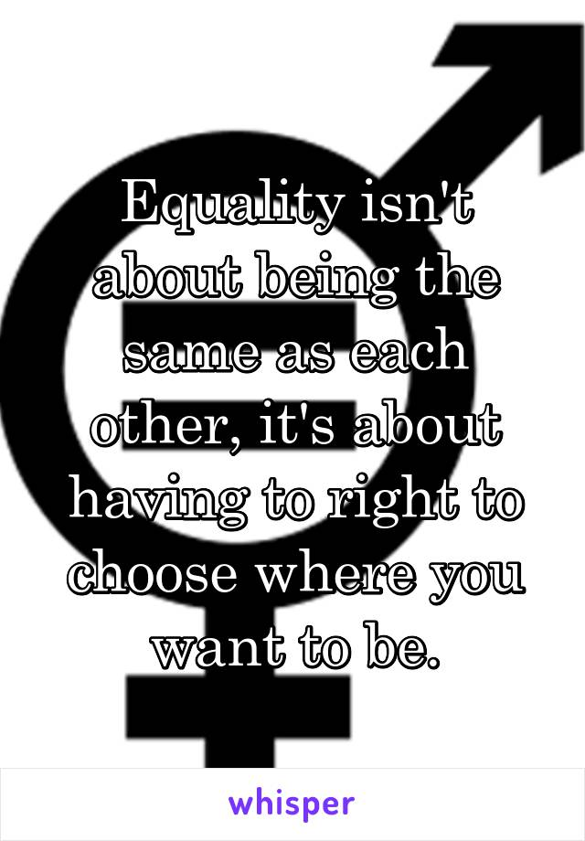Equality isn't about being the same as each other, it's about having to right to choose where you want to be.
