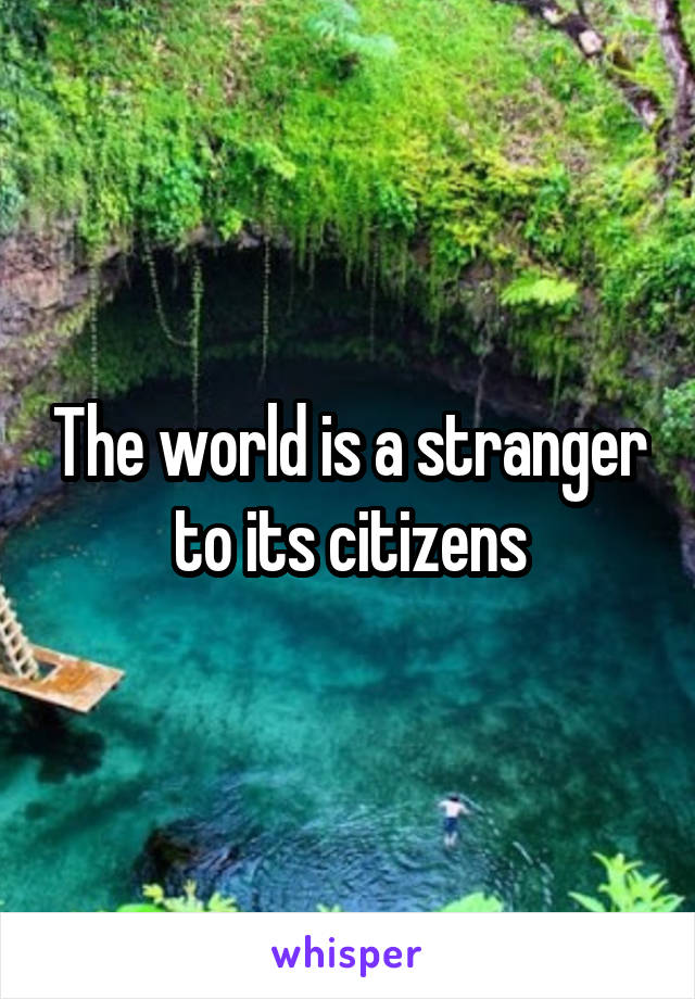 The world is a stranger to its citizens