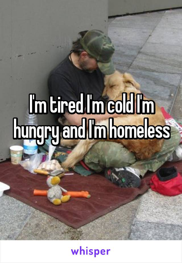 I'm tired I'm cold I'm hungry and I'm homeless