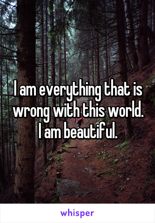 I am everything that is wrong with this world. I am beautiful.