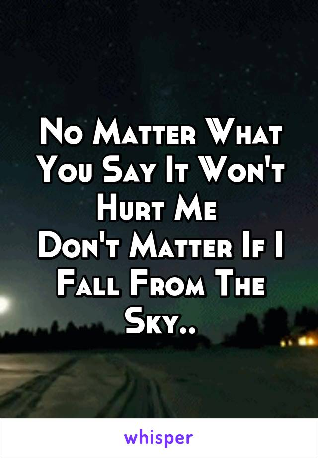 No Matter What You Say It Won't Hurt Me  Don't Matter If I Fall From The Sky..