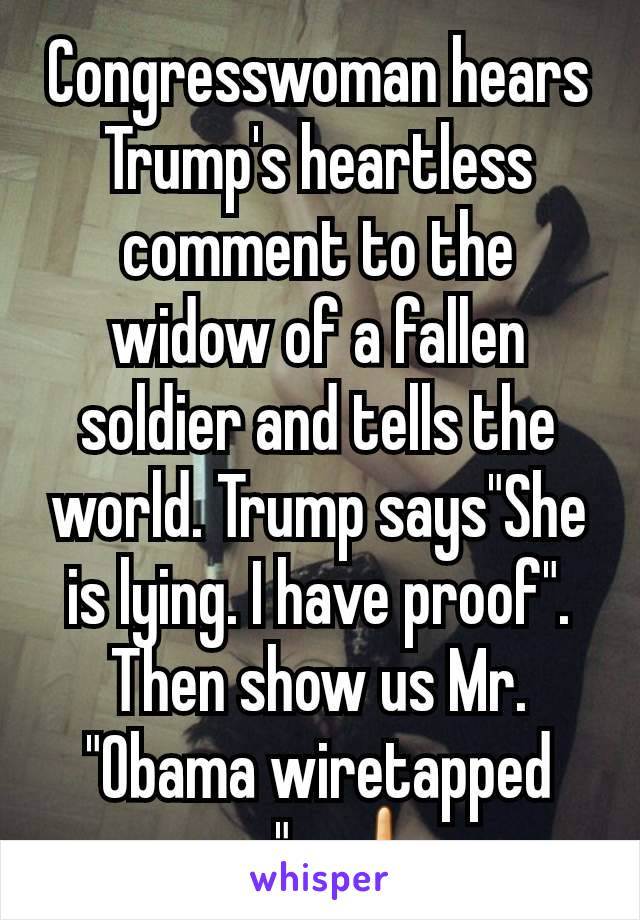 """Congresswoman hears Trump's heartless comment to the widow of a fallen soldier and tells the world. Trump says""""She is lying. I have proof"""". Then show us Mr. """"Obama wiretapped me"""".  🖕"""