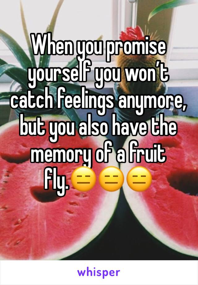 When you promise yourself you won't catch feelings anymore, but you also have the memory of a fruit fly.😑😑😑