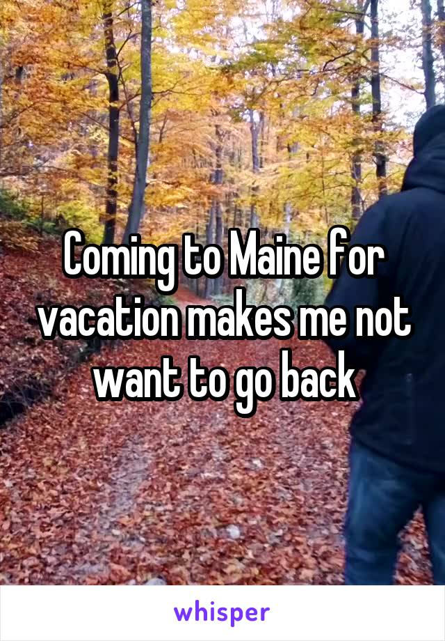 Coming to Maine for vacation makes me not want to go back