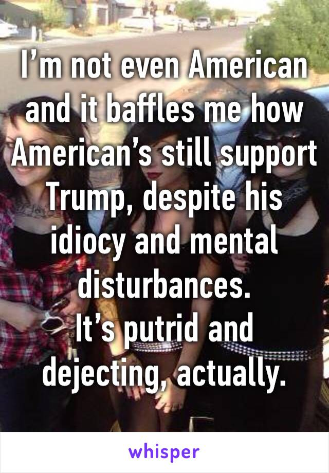 I'm not even American and it baffles me how American's still support Trump, despite his idiocy and mental disturbances.  It's putrid and dejecting, actually.