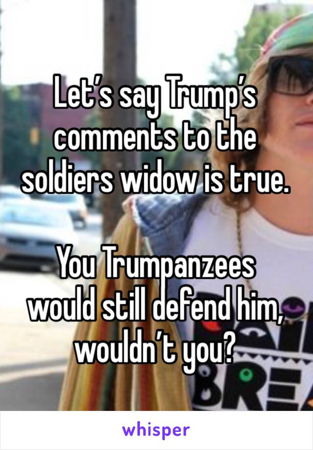 Let's say Trump's comments to the soldiers widow is true.   You Trumpanzees  would still defend him, wouldn't you?