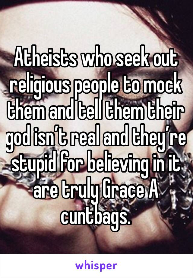 Atheists who seek out religious people to mock them and tell them their god isn't real and they're stupid for believing in it are truly Grace A cuntbags.
