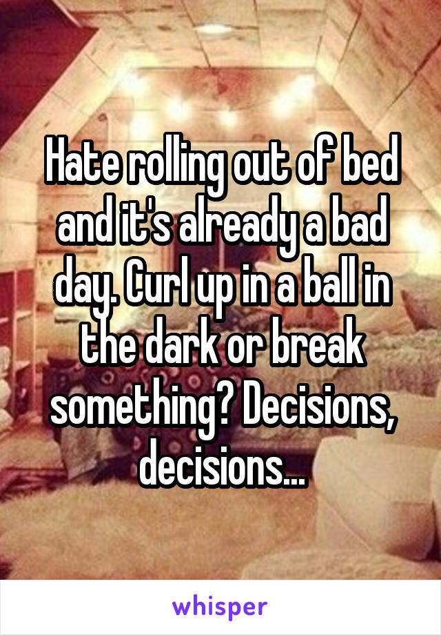 Hate rolling out of bed and it's already a bad day. Curl up in a ball in the dark or break something? Decisions, decisions...