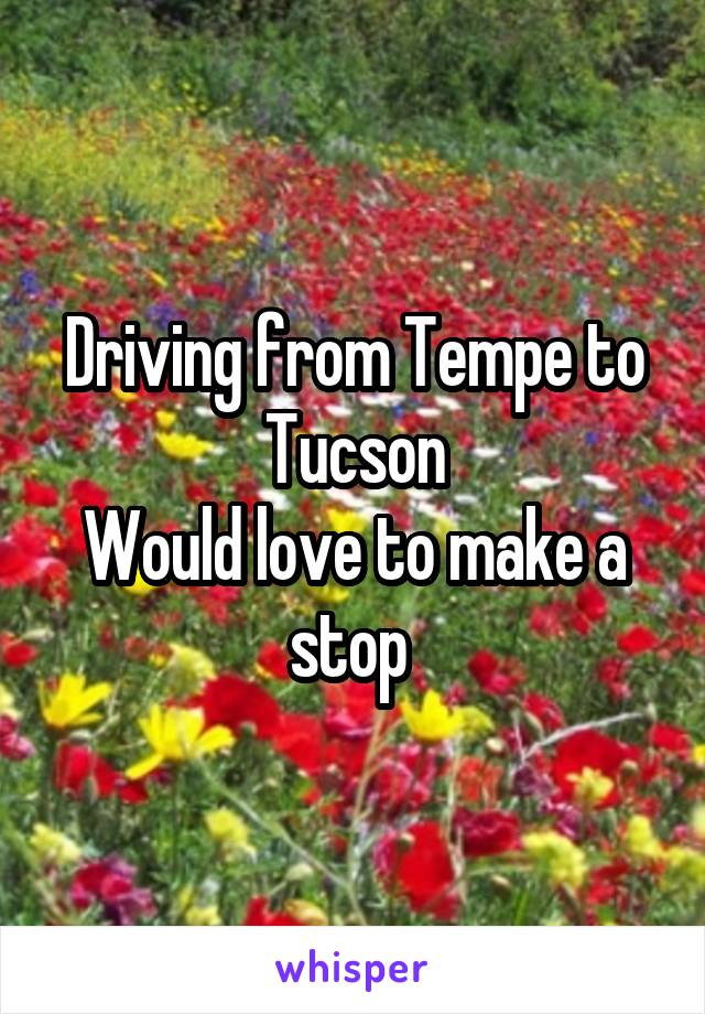 Driving from Tempe to Tucson Would love to make a stop