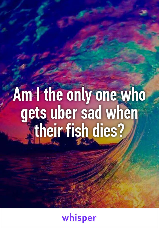 Am I the only one who gets uber sad when their fish dies?