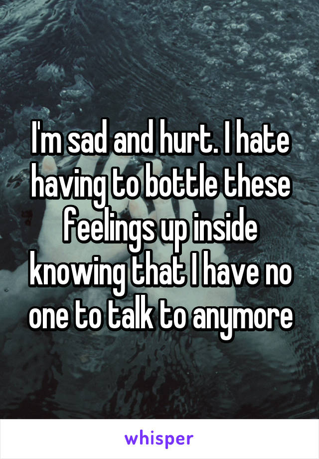 I'm sad and hurt. I hate having to bottle these feelings up inside knowing that I have no one to talk to anymore